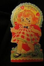 Vintage Darling Girl w/parasol Valentine Card c. 1940s made in Canada
