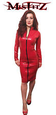 Misfitz red latex pencil mistress dress,2 way zip,sizes 8-32/made to measure TV