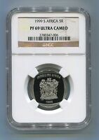 NGC Certified Proof PF 69 Ultra Cameo South Africa R5 Year 1999 Coin 5R