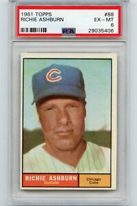 1961 TOPPS BASEBALL #88 RICHIE ASHBURN, CHICAGO CUBS, HOF - PSA 6 EX-MT (35406)