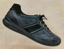 ECCO Black Leather Wedge Sneaker Shoes Metal Eyelets Women's US 10-10.5 / EUR 41