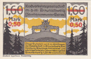 0,50 MARK UNC OVERPRINTED EMERGENCY ISSUED NOTE FROM GERMANY/BRAUNSCHWEIG 1921