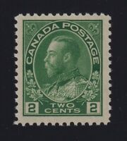 Canada Sc #107iv (1923-5) 2c yellow green Admiral Dry Printing Mint VF NH