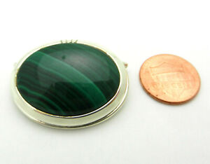 VINTAGE STERLING SILVER AND MALACHITE BOLO TIE CLIP SIGNED