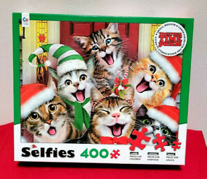 CHRISTMAS CAT SELFIES CATS FAMILY TOGETHER TIME 400 PIECE JIGSAW PUZZLE NEW