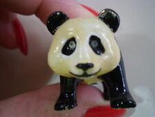 MONET Panda Bear Crystal Eyes Black White Enameled Hinged Trinket Pill Box