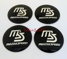 4PCS Wheel Center Hub Caps Emblem Sticker 56mm Mazda Speed MS Black b5611