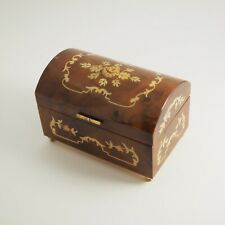 Vintage Reuge Wooden Jewelry Music Box with Floral Inlay Made in Italy /g