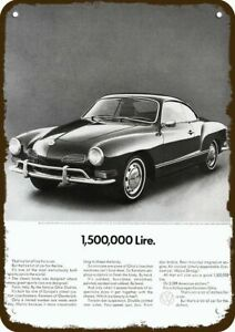 1971 VOLKSWAGEN KARMANN GHIA VW Car 1500000 Lire Vintage Look REPLICA METAL SIGN