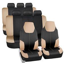 Neoprene 3 Row Highback Seat Covers Car SUV Van Truck Beige Black 8 Seaters