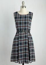 Yellow Star Plus Size 3X Teal Rust Plaid Belted Chiffon A-Line Dress Retro