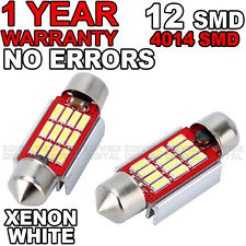 2x 36mm NUMBER PLATE INTERIOR LIGHT FESTOON BULB 12 LED XENON WHITE 239 12v C5W