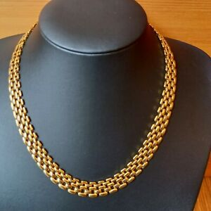 """Gold Tone Cleopatra Egyptian Revival Collar Necklace 18"""" Chain Costume Jewellery"""
