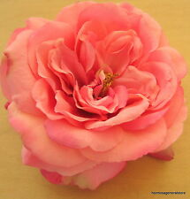 "Large 5 1/2"" Coral Pink Silk Rose Silk Flower Hair Clip,Wedding,Prom,Bridal"