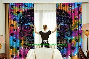Skull Skelton Mandala Curtains Indian Tie Dye Hippie Door Valances Window Set