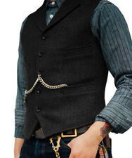 Mens Tweed Waistcoat Herringbone Lapel Vintage Casual Slim Fit Black Notch Vest