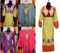 Embroidered Egyptian Kaftan Caftan Long Dress Arabic Abaya Jilbab S M L XL 2X