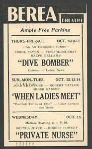 1941 BEREA THEATRE OH SHOWING DIVE BOMBER W/E FLYNN & F McMURRAY ETC