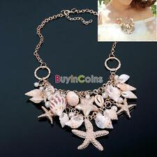 Gold Tone Sea Shell Starfish Pearl Bib Statement Necklace Cross Chain BAAU