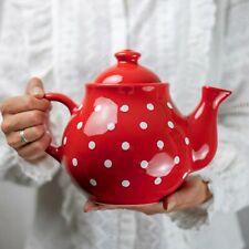 Handmade Red and White Polka Dot Extra Large 60oz/1,7l Ceramic Teapot