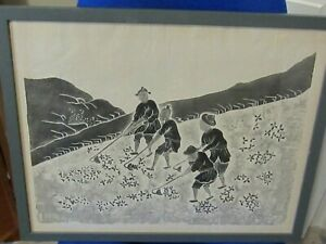 Chinese Black and White  Print on Rice Paper of a Farming Scene