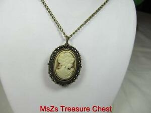 Oval Shaped CAMEO Pendant Watch with Bronze trim and chain  * New w Gift Box! *