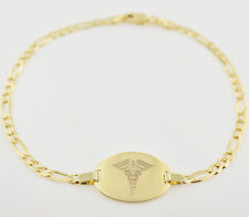 "New 10K Solid Gold Medical Alert Medic Id Bracelet 7.5"" ITALIAN FREE ENGRAVE"
