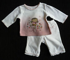 Baby clothes GIRL 0-3m outfit Mothercare pink/white top/NEXT white trousers