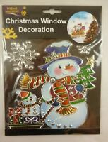 Christmas Window Decoration Sticker / Suncatcher - Snowman + Snowflakes (DP116)