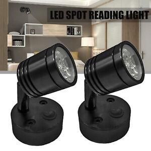 2X 12V LED Spot Reading Light Switch Camper Van Caravan Boat Motorhome Flexible