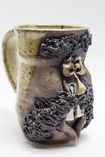 Signed POTTERY Stoneware Smiling Mustache Face Mug coffee Cup Silly AS IS
