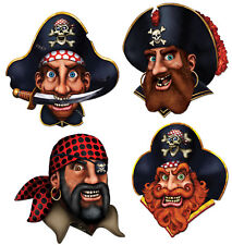 """4 pc Cardboard 16"""" Cutout Pirate Crew Cutouts  Birthday Party Decorations"""
