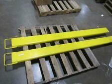 Set of 2 Yellow 84 in L x 6 in W Forklift Fork Extensions