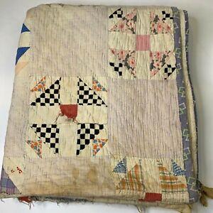 vintage hand sewn quilt coverlet white purple triangle pattern handmade blanket