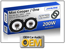 BMW Mini front door speakers Alpine car speaker kit + Speaker adapter pods 200W