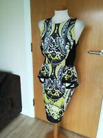 Ladies RIVER ISLAND DRESS Size 14 Black Yellow Stretch Peplum Wiggle