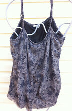 AUTOGRAPH COFFEE/BLACK EMBROIDERED PATTERN STRAPPY TOP SIZE:22 GC