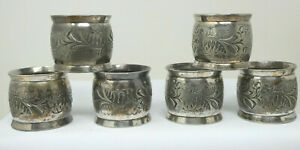 Set of 6 x Vintage Silver Plated Napkin Rings