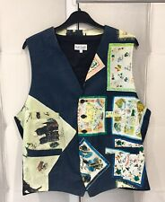 Paul Smith Vintage 80s Ltd Edit Navy Black Cotton Tea Towel Print Waistcoat L 44