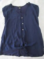 Suzie in the City Women's blouse, Navy, Silky front w/tie overTshirt, Size M
