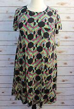 2XL LuLaRoe Disney CARLY DRESS Minnie Black Multi Color Chevron NWT