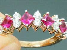 9ct Gold  Ruby Hallmarked Eternity Ring size M 9ct Rose Gold