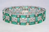 $200,000 48.59CT NATURAL COLOMBIAN EMERALD & DIAMOND CLUSTER BRACELET VS 18K WG