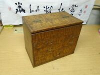 ANTIQUE JAPANESE MEIJI ERA MID 19TH C ARTISTS WOOD CALLIGRAPHY TANSU BOX DRAWS