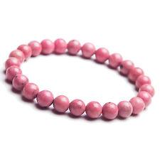 Natural Rose Rhodonite Gemstone Round Beads Love Bracelet AAA 7MM