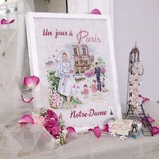 French Cross Stitch Semi Kit LBP Un  jour a paris Notre Dame Wedding Bride