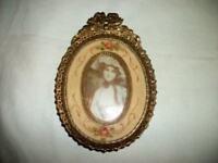 FRENCH BRONZE ORMOLU FRAME MINIATURE  PORTRAIT PAINTING VELVET HP ROSES 1880's