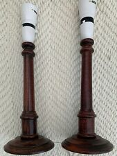 Pair of Wood candle stick style 14 inch Spindle Table Lamps. 5ins Dia Base. VGC.