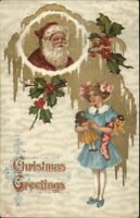 Christmas - Watches Over Little Girl w/ Dolls Gilt Finish c1910 Postcard