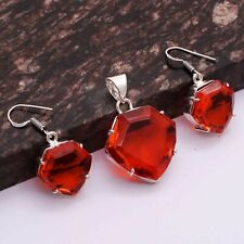 "Jewelry 1.56"" Ap 26803 Mozambique Garnet Ethnic Handmade Pendant+Earrings"